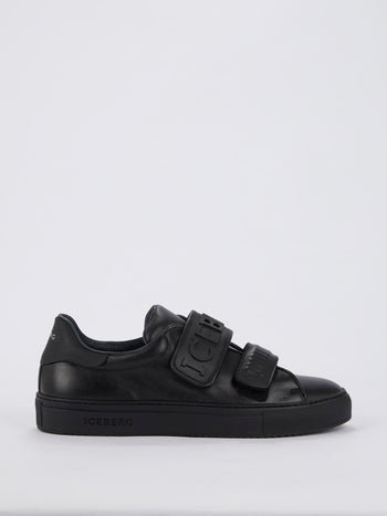 Black Logo Strap Leather Sneakers
