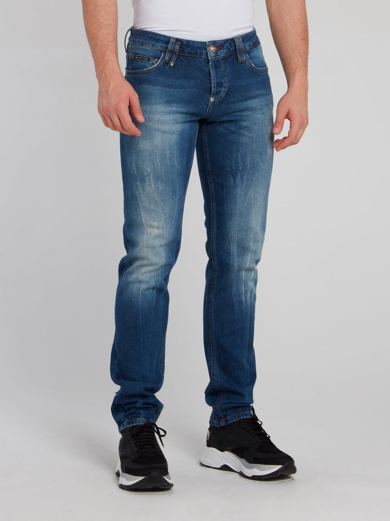 Distressed Straight Cut Denim Jeans