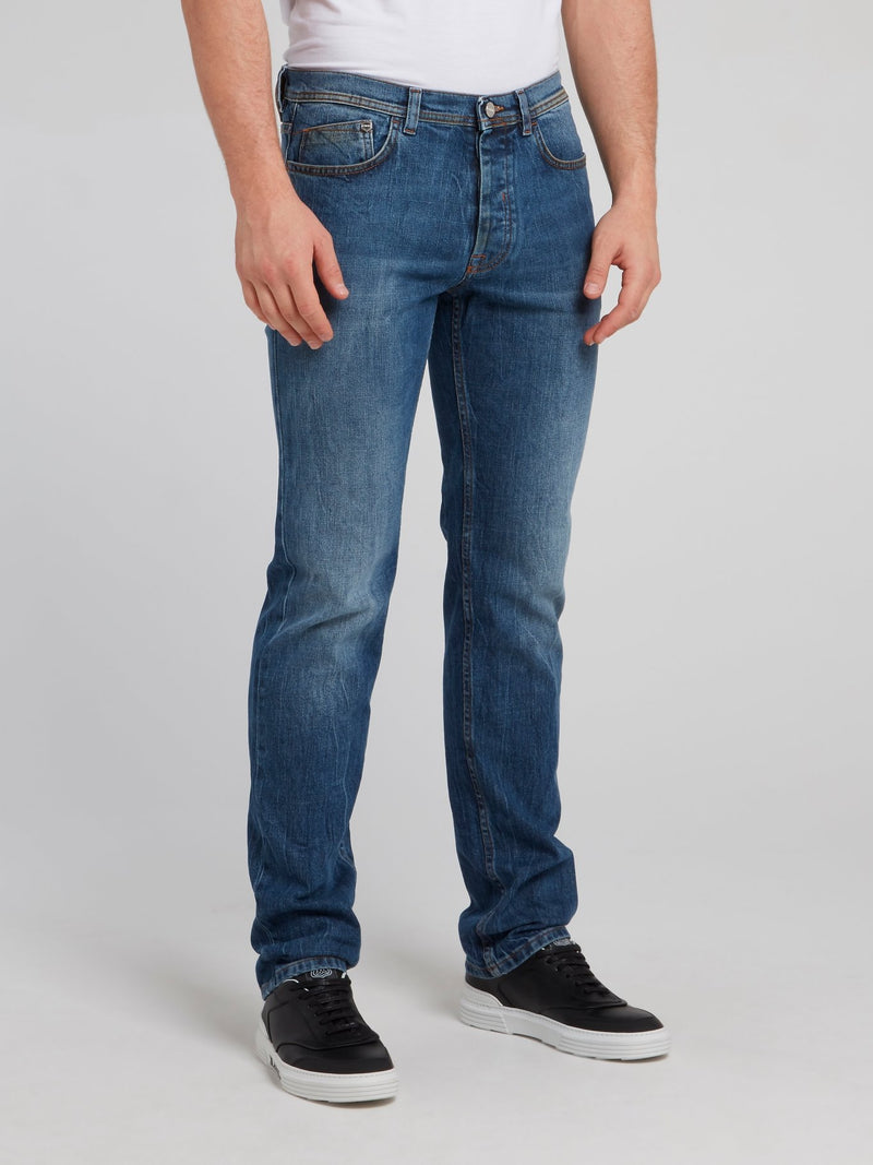 Navy Straight Cut Denim Jeans