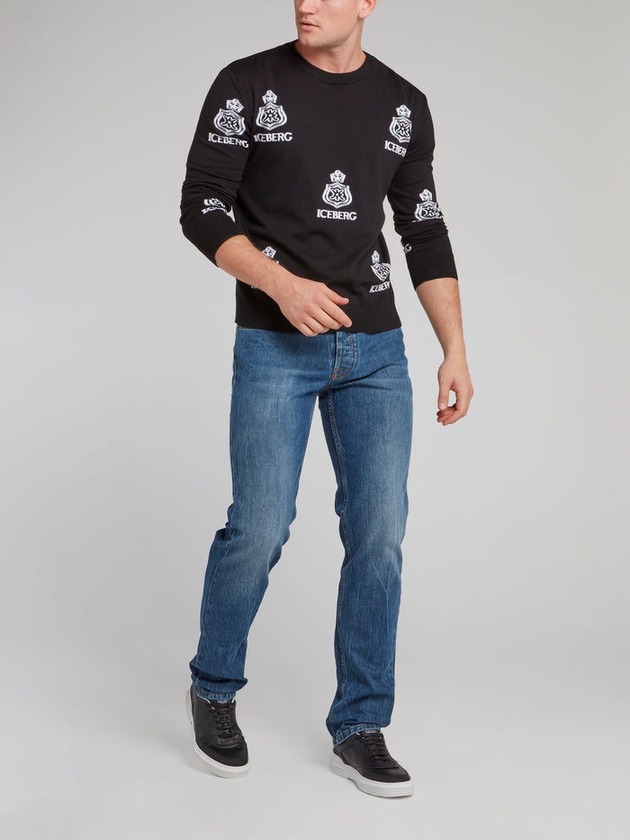 Black Monogram Print Knitted Sweatshirt