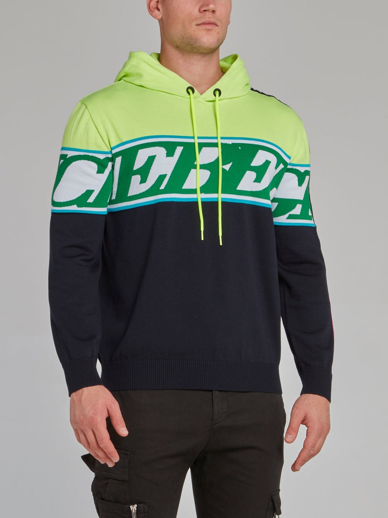 Green Panel Hooded Sweater