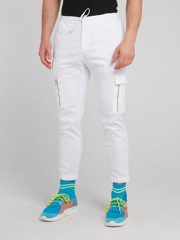 White Slim Fit Cropped Cargo Pants