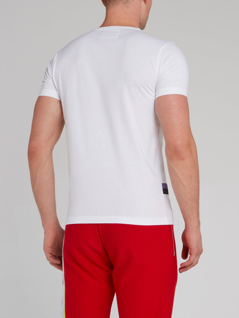 White Graphic Embroidered T-Shirt
