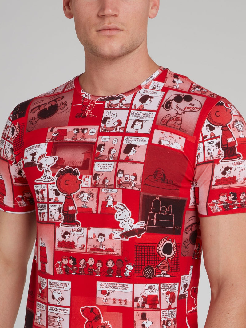 Snoopy Comic Print Red Cotton T-Shirt