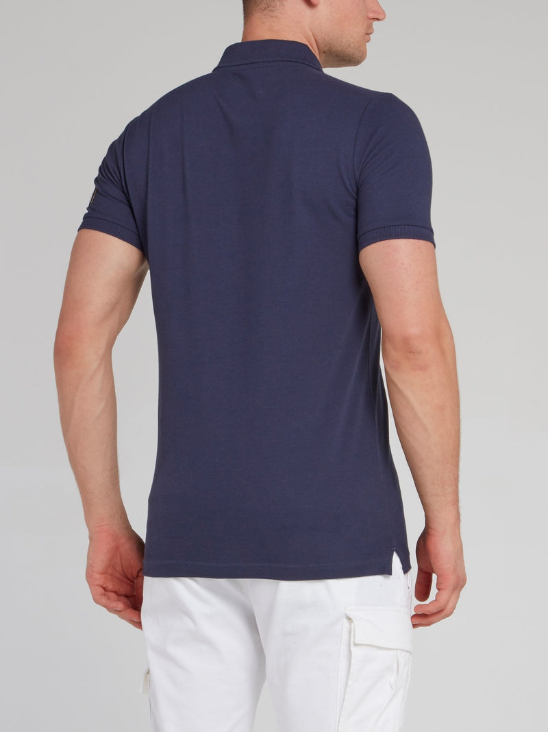 Navy Logo Appliquéd Polo Shirt
