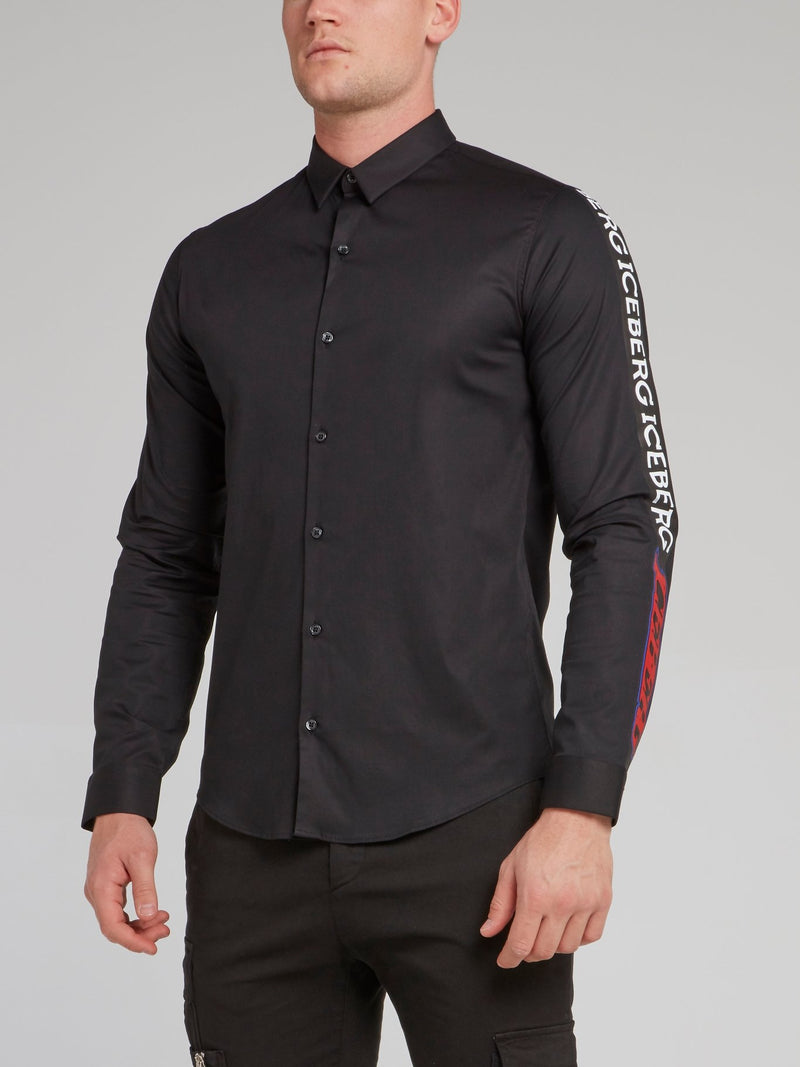 Black Logo Sleeve Button Up Shirt