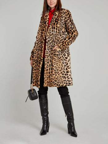Leopard Effect Leather Coat