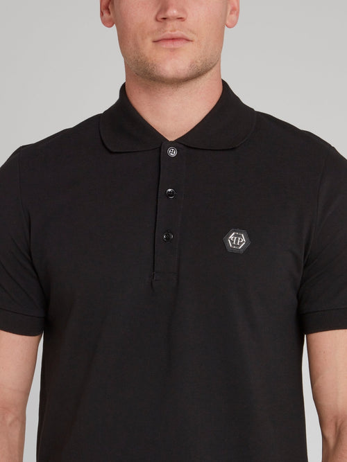 Black Rear Skull Printed Polo Shirt