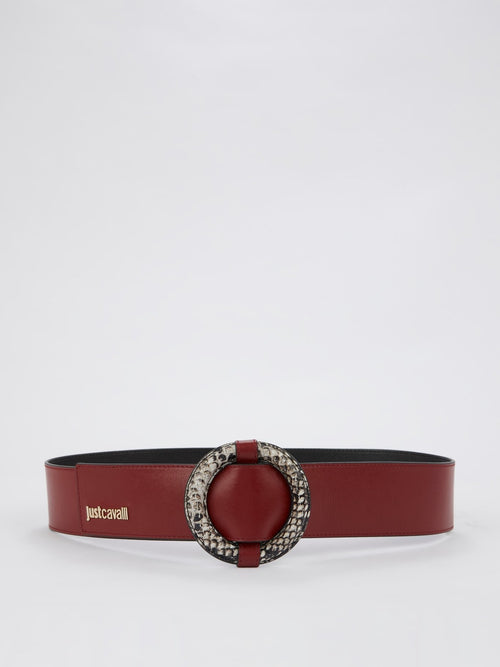 Burgundy Snake Ring Belt