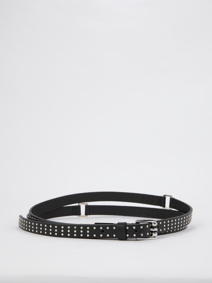 Black Multi-Strap Studded Belt