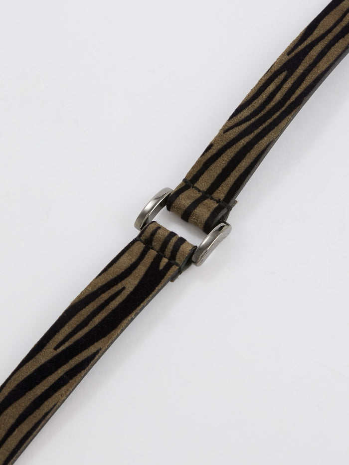 Brown Animal Print Suede Belt
