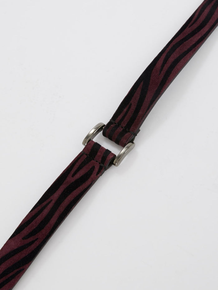 Burgundy Animal Print Suede Belt