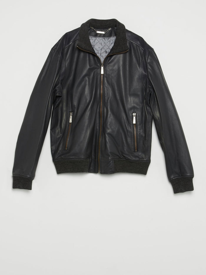 Black Ribbed Edge Leather Jacket