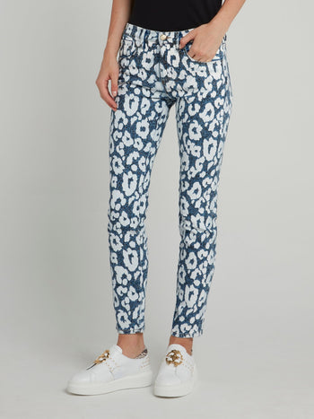 Floral Print Cotton Skinny Jeans