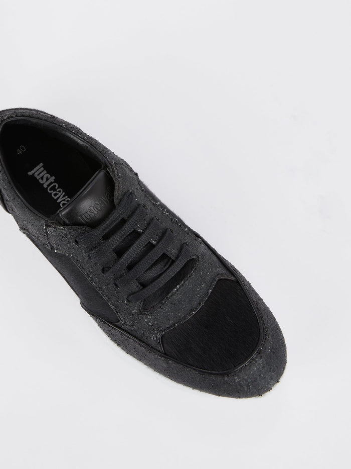 Black Pony Hair Sequin Sneakers