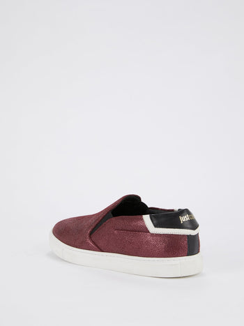 Burgundy Metallic Slip On Sneakers