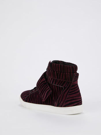 Burgundy Animal Print High Top Sneakers