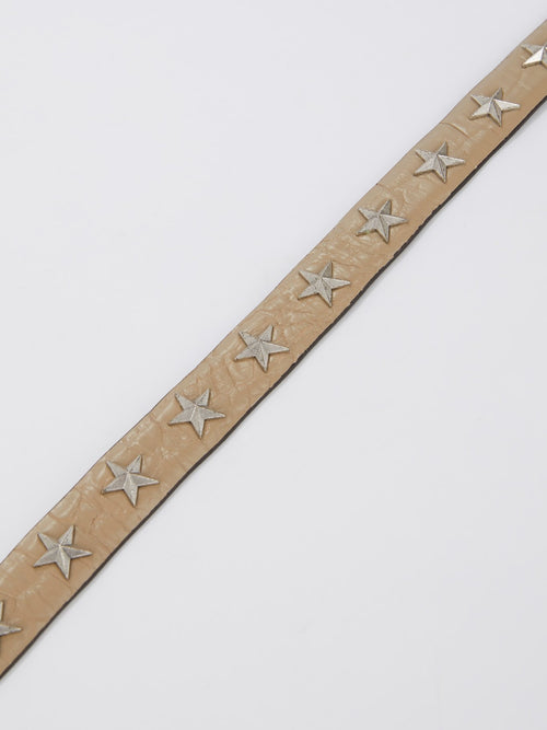 Star Embellished Crocodile Effect Belt