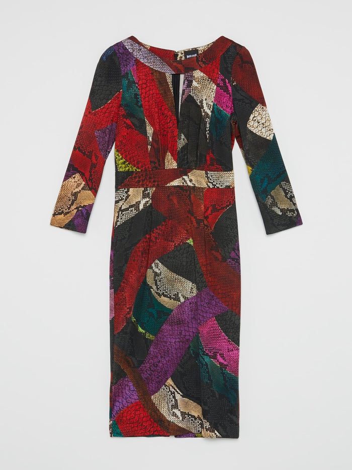 Red Colour Block Snake Print Dress