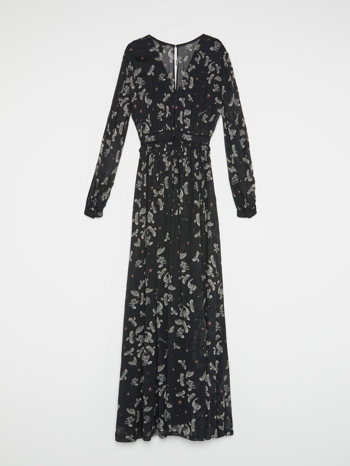 Black Eagle Print Pleated Dress