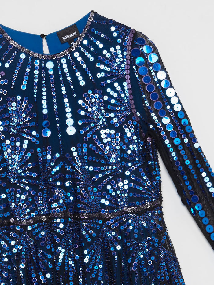 Blue Multi-Sequin High-Low Top