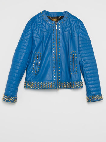 Blue Embellished Leather Jacket