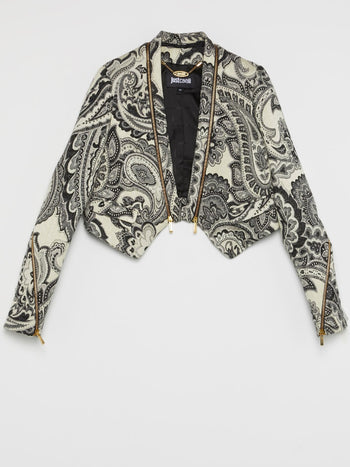 Grey Baroque Print Coat