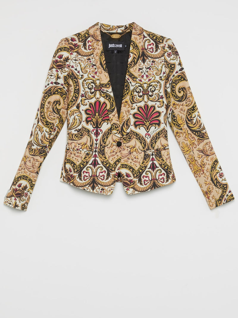 Yellow Baroque Print Blazer