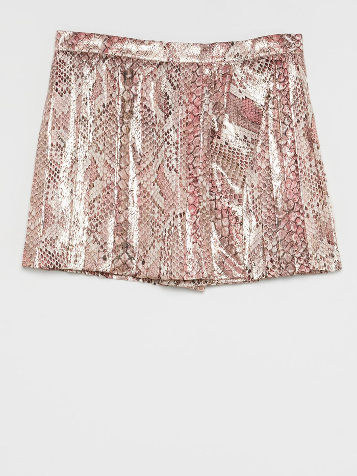 Pink Python Effect Mini Skirt