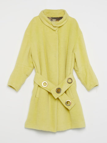 Yellow Velvet Trench Coat