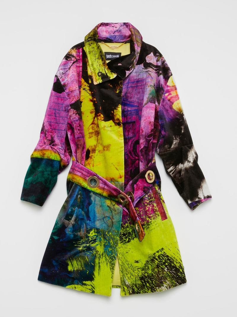 Multicolour Abstract Trench Coat
