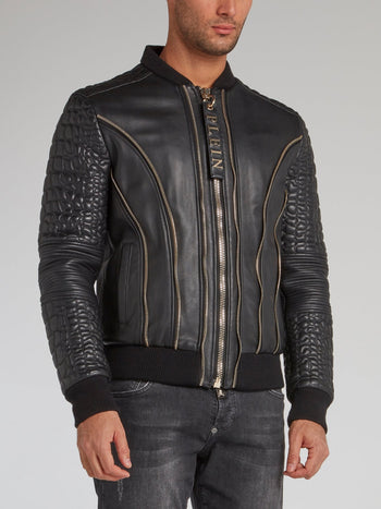 Black Crocodile Effect Leather Bomber Jacket