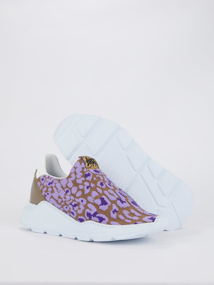 Purple Mesh Platform Sneakers