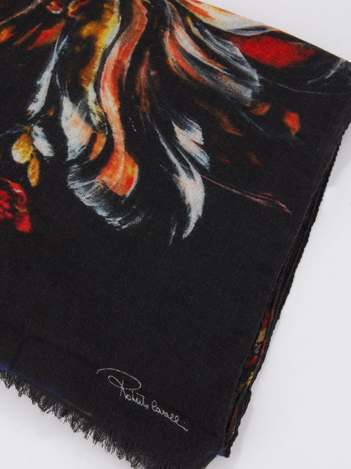 Black Printed Frayed Scarf
