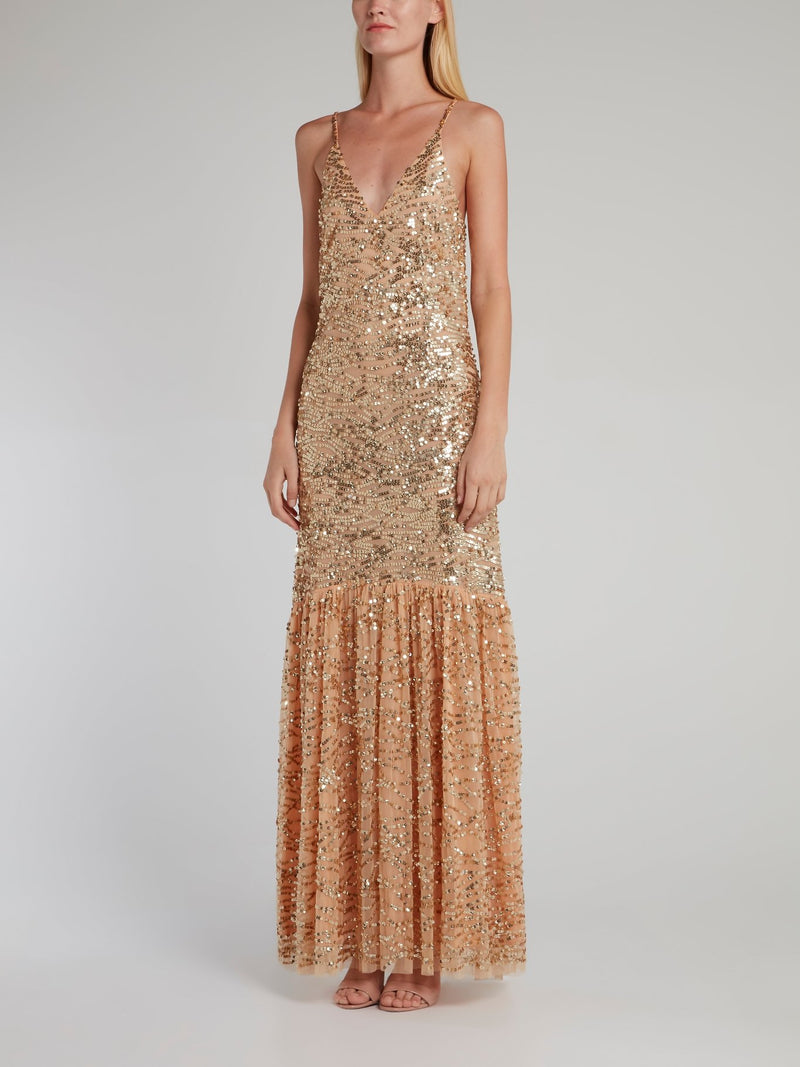 Shelly Gold Sequin Trumpet Dress