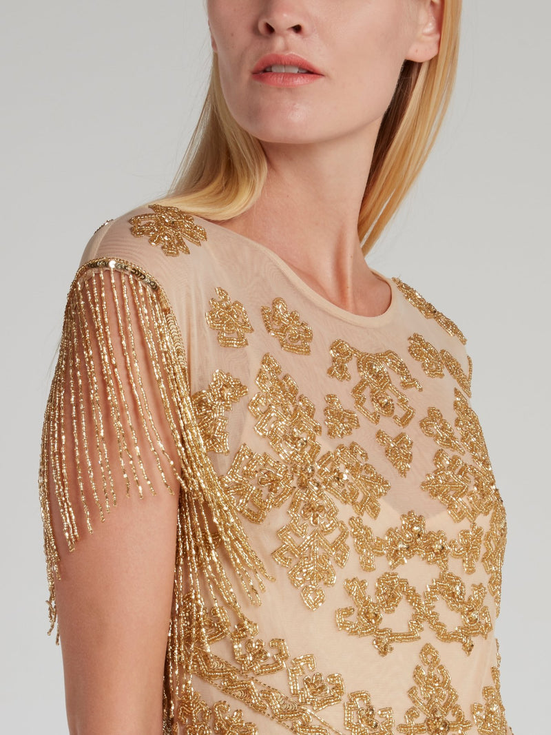 Shally Gold Beadwork Mini Dress