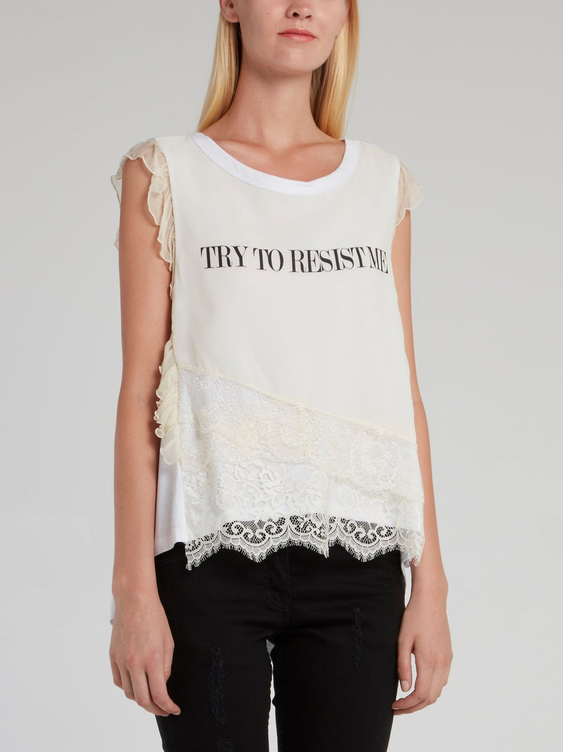 Sherri White Lace Detail Top
