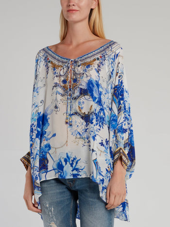 Blue Drawstring Silk Square Top