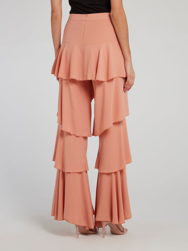 Pink Tiered Ruffle Pants