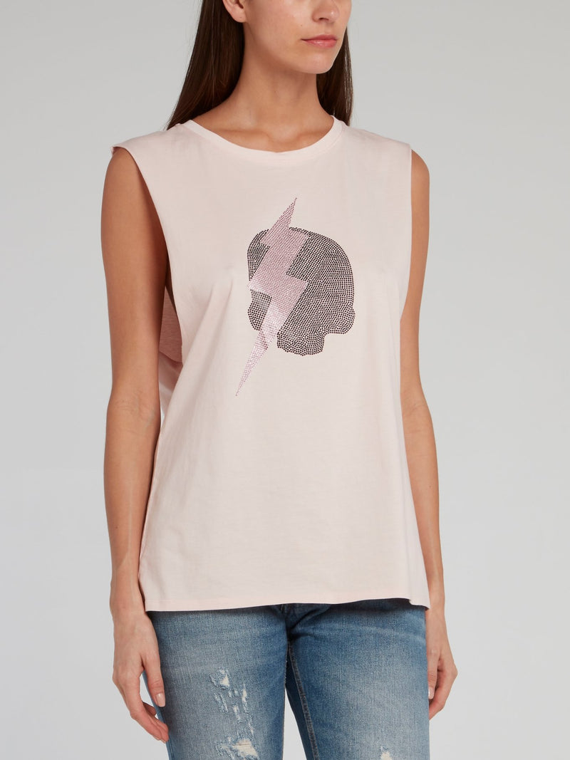 Chrissy Pink Cut-Off Sleeve Top