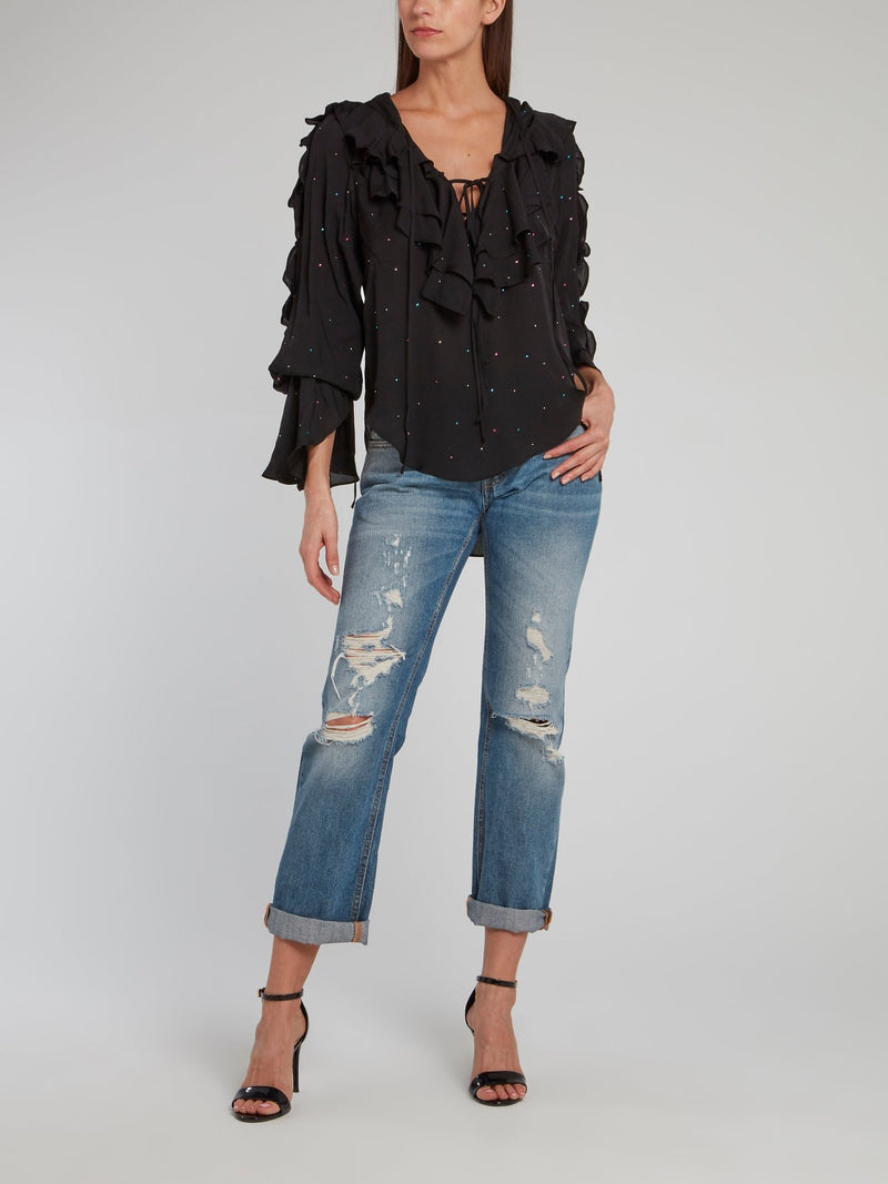 Sun Black Ruffle Top