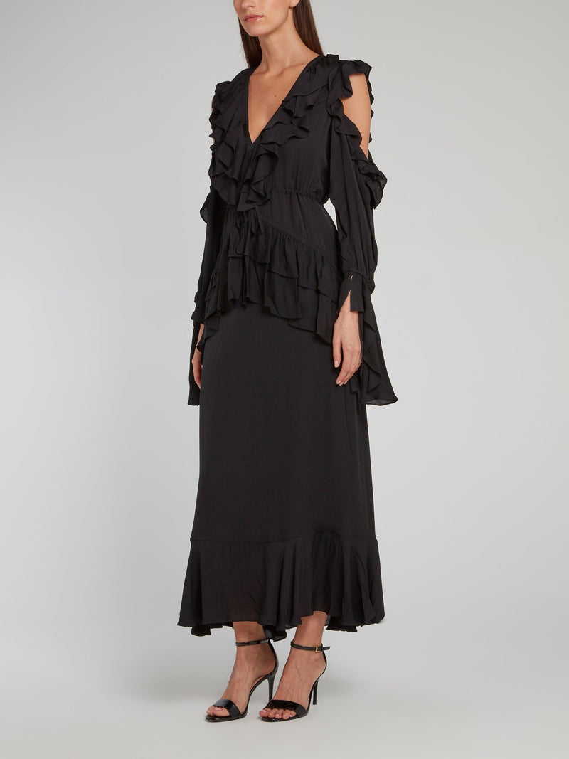 Sarah Black Ruffle Midi Dress