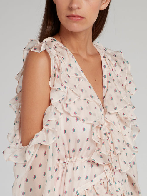 Sarah Pink Ruffle Silk Chiffon Dress