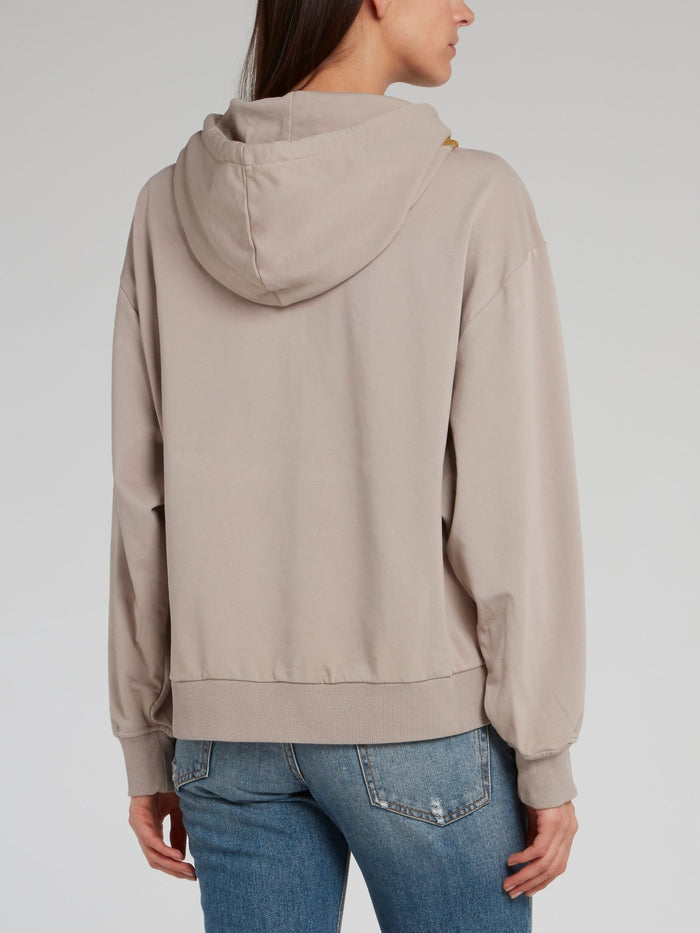 Brown Studded Drawstring Hoodie
