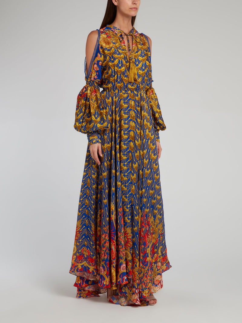 Baroque Print Cold Shoulder Maxi Dress