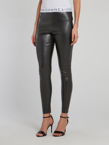 Logo Waist Leather Leggings