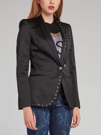 Black String Detail Viscose Jacket