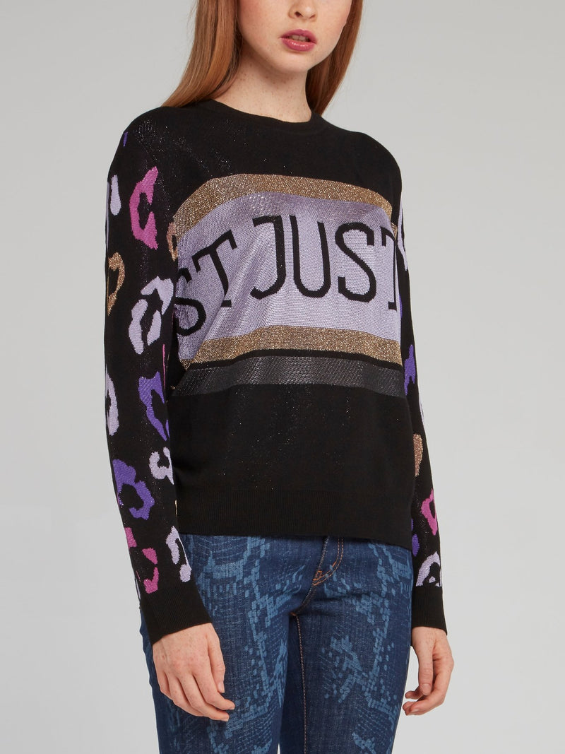 Black Glitter Fabric Printed Pullover