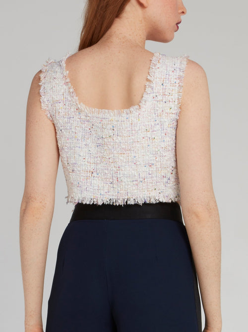 White Tweed Cropped Top