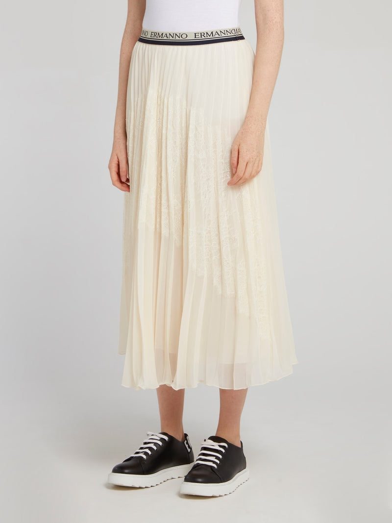 Logo Waistband Pleated Midi Skirt